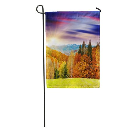 KDAGR Orange Fall Majestic Sunset in The Mountains Landscape Dramatic Sky Colorful Autumn Garden Flag Decorative Flag House Banner 12x18 inch Autumn Banner Flag Flags