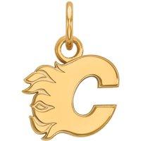 LogoArt Sterling Silver 14 Karat Yellow Gold-Plated NHL Calgary Flames Extra Small Pendant