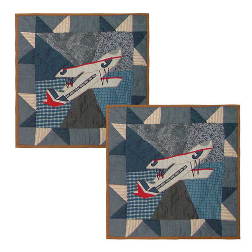 Patch Magic Airplane Cotton Throw Pillow (Set of 2)