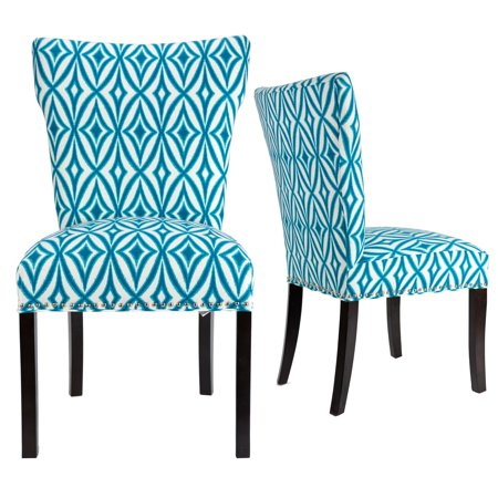 Bella  Wingback Centro Azure Upholstery Espresso Legs Nail Trim Dining Bella Dining Chair