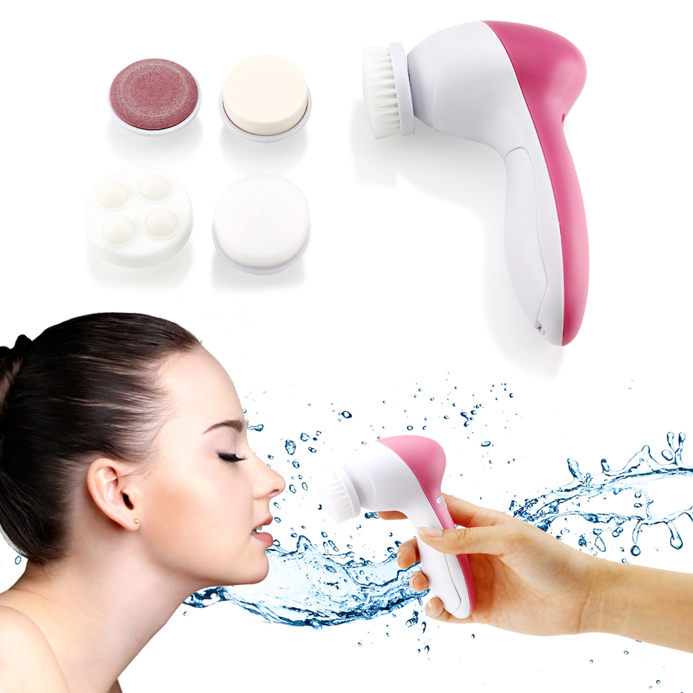 5 in 1 Multifunction Electric Electronic Beauty Face Facial Cleansing Cleanser Spin Brush and Massager Scrubber Exfoliator Machine Cleaning System Multifunction