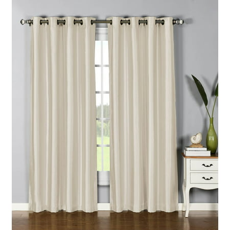 1 PANEL Nancy  SOLID IVORY BEIGE SEMI SHEER WINDOW FAUX SILK ANTIQUE BRONZE GROMMETS CURTAIN DRAPES 55 WIDE X 84