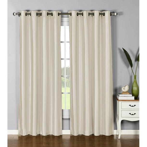 1 Panel Nancy Solid Ivory Beige Semi, Antique Bronze Grommet Curtains