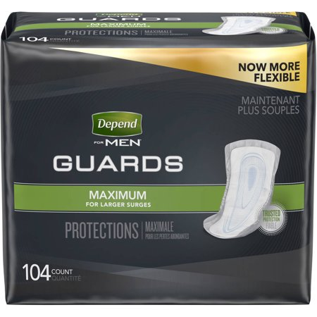 Depend Incontinence Guards for Men, Maximum Absorbency, 104 -