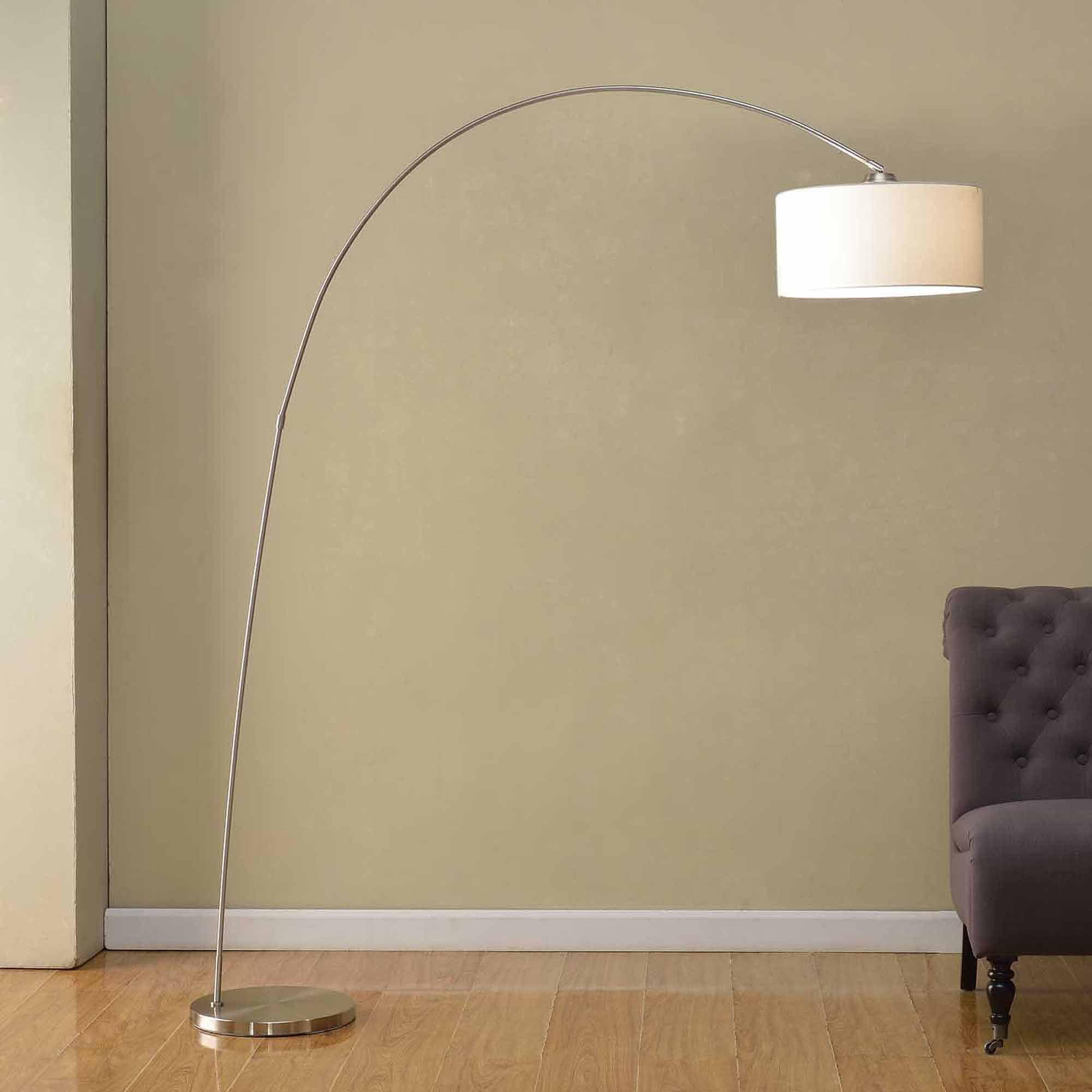 "Artiva USA 81"" Adelina Arched Brushed Steel Floor Lamp"