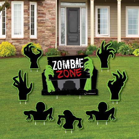Zombie Zone - Yard Sign & Outdoor Lawn Decorations - Halloween or Birthday Zombie Crawl Party Yard Signs - Set of 8](Lawn Zombie)