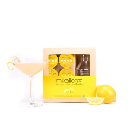 - mixallogy - Organic Lemon Sour Cocktail Mixer & Mini Cocktail Shaker - 6 servings