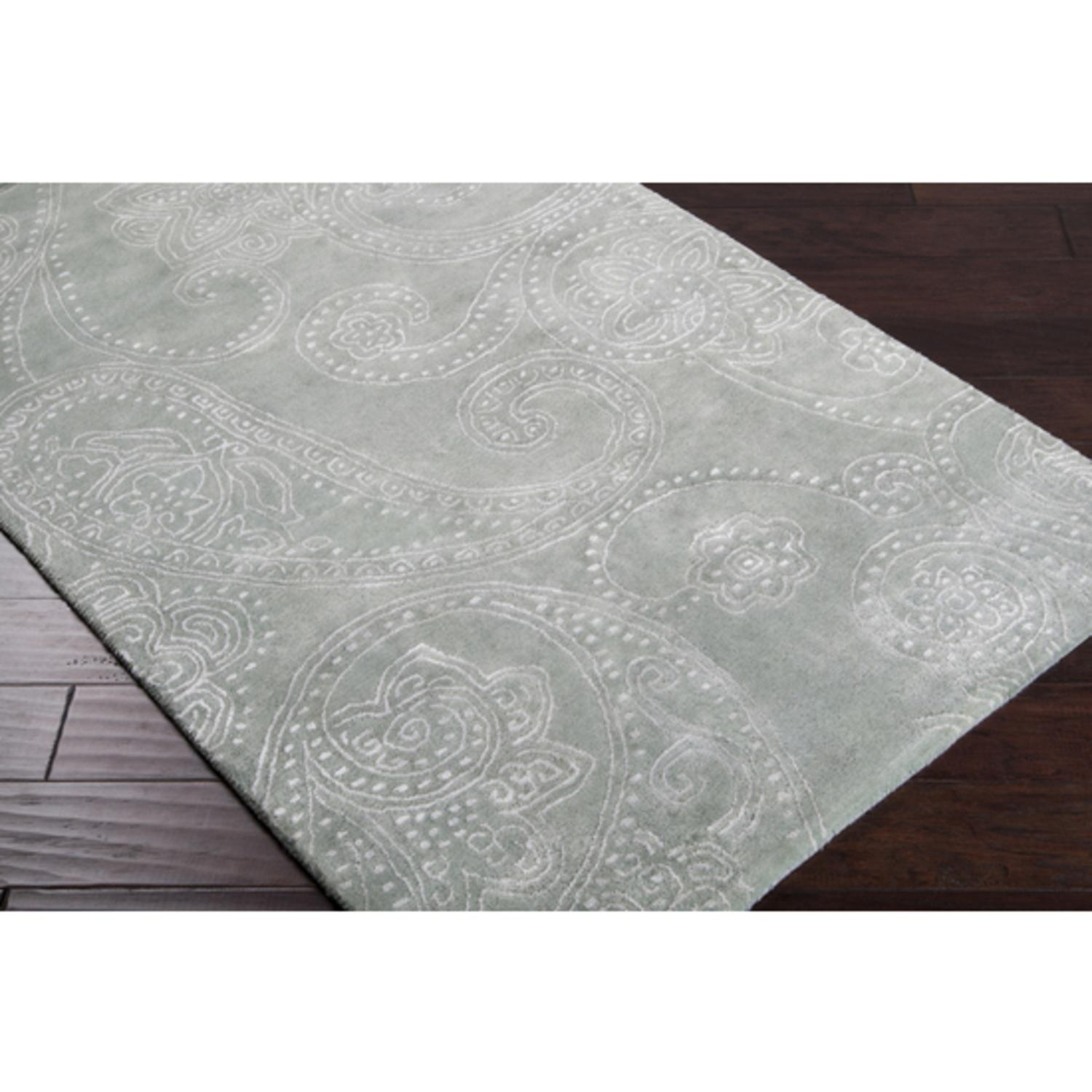 9' x 13' Paisley Lily Pad Green Wool Area Throw Rug