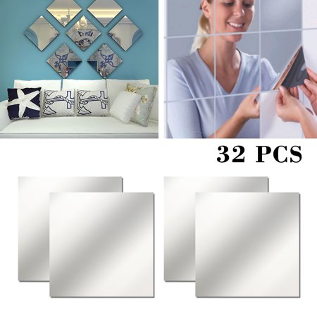 32 Pieces Flexible Mirror Sheets Self-Adhesive Plastic Mirror Tiles Non-Glass Mirror Stickers for Home Bedroom Decoration, 6 × 6 Inches - Mirror Pieces