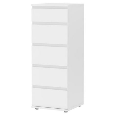 Pemberly Row 5 Drawer Narrow Chest in White Cambridge 5 Drawer Chest