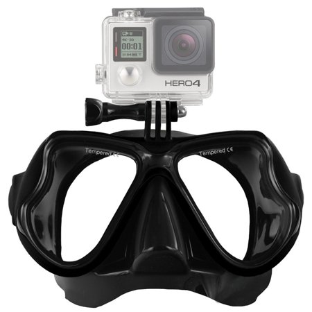 AMZER Water Sports Diving Equipment Diving Mask Swimming Glasses for GoPro NEW HERO /HERO6 /5 /5 Session /4 Session /4 /3+ /3 /2 /1, Xiaoyi and Other Action Cameras - Black (Go Pro Hero 4 Dive Mask)