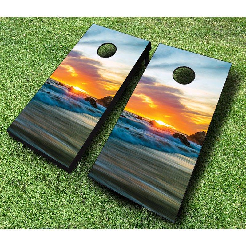 AJJ Cornhole Sunset Beach Cornhole Set by