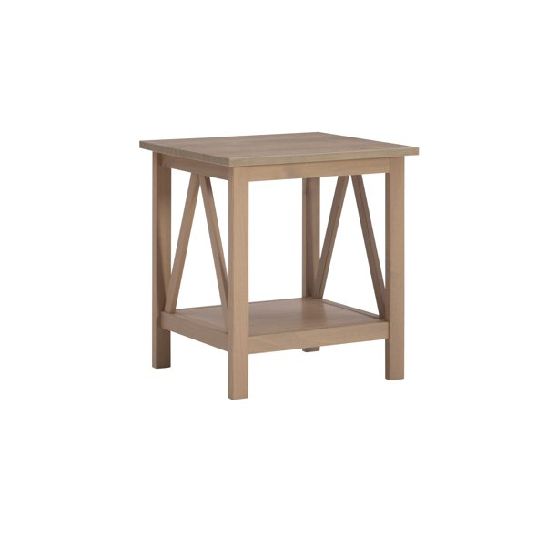 Linon Titian End Table with Bottom Shelf, 22 inches Tall, Rustic Driftwood