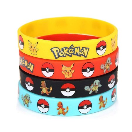 Zombie Birthday Party Supplies (24 pcs Pokemon Wristband Rubber Bracelet Kids Birthday Party Favors)