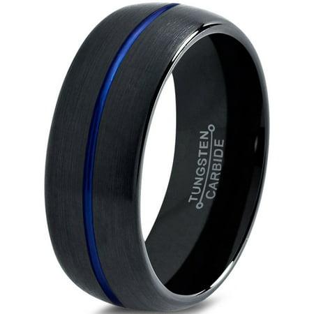 Tungsten Wedding Band Ring 8mm for Men Women Black Blue Center Line Dome Brushed Lifetime