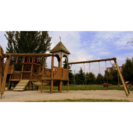 Canvas Print Fun Playground Wood Rock Climbing Park Swing Game Stretched Canvas 10 x 14