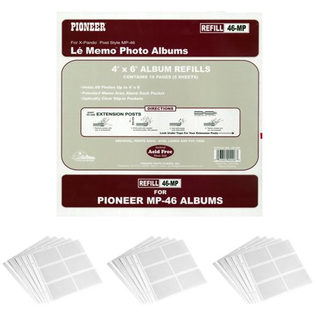 Pioneer Memo Pocket Album Refills 4x6 Inch For Mp 46 Albums 3 Pack