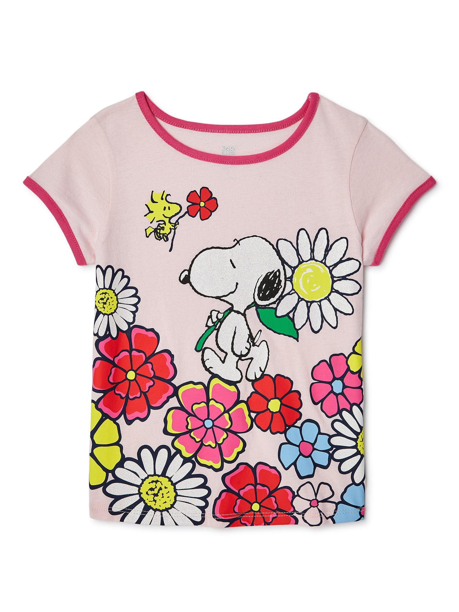 365 Kids From Garanimals Little Girls Peanuts Short Sleeve T-Shirt, Sizes 4-10