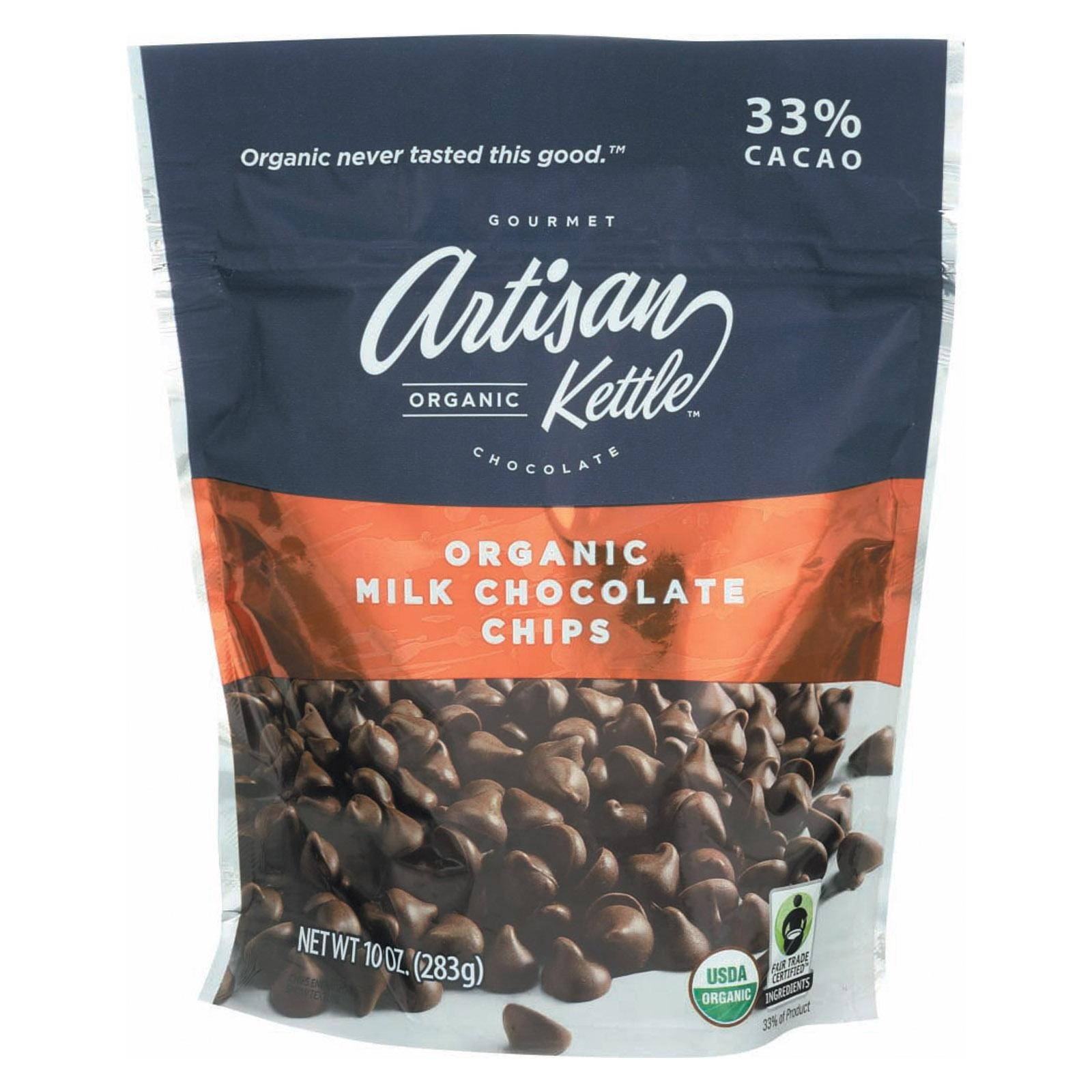 Artisan Kettle Chocolate Chips - Organic - Milk - pack of 6 - 10 Oz