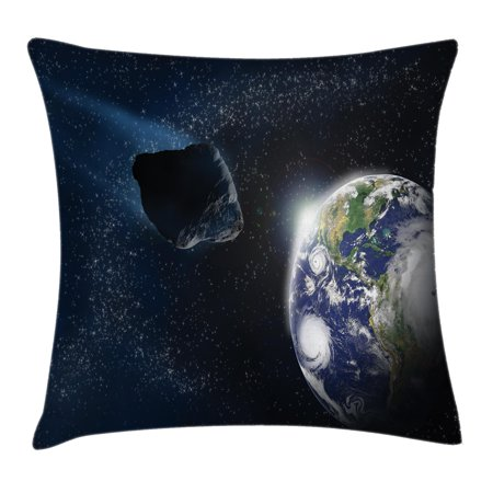 Galaxy Throw Pillow Cushion Cover, Attack of the Asteroid Rocky Dark Body Comet on Planet Earth Meteor Shower Print, Decorative Square Accent Pillow Case, 16 X 16 Inches, Dark Blue Grey, by (The Asteroids Galaxy Tour Out Of Frequency)