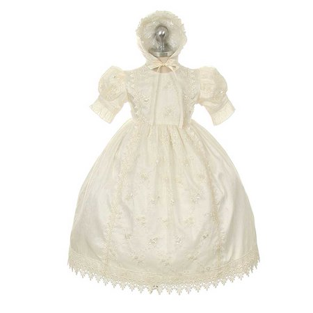 Rain Kids Baby Girl 18M Ivory Silk Lace Bonnet Baptism Dress