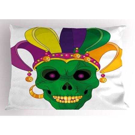 Scary Carnival (Mardi Gras Pillow Sham Scary Looking Green Skull Mask with Carnival Hat Beads and Earring Cartoon Style, Decorative Standard Size Printed Pillowcase, 26 X 20 Inches, Multicolor, by)
