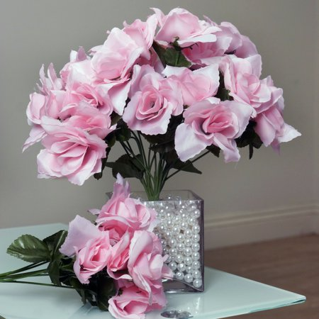 BalsaCircle 84 Silk Open Roses Bouquets - DIY Home Wedding Party Artificial Flowers Arrangements (Pink Rose Vine)