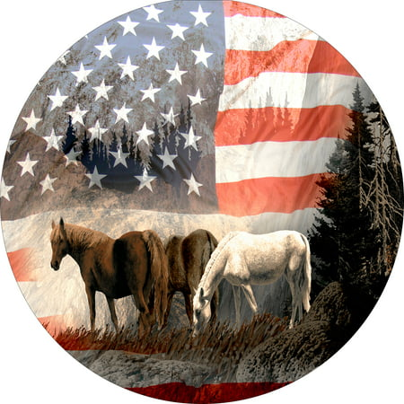 Tire Cover Central Horse on US American Flag covered moutain spare tire cover fits center mounted backup camera openings 255/70r18 with back up camera opening Designer Tire Cover Flag