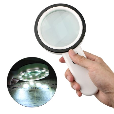 30X Handheld Magnifying Glass with 12 LEDs Light, High Power Handheld Lighted Magnifier with Large Double Glass Lens Led Magnifiers for Seniors Reading, Coins, Stamps, Map,Inspection (Hand Lens Belomo)