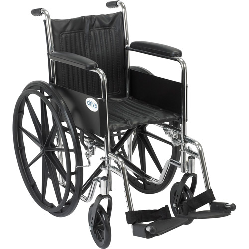 """Drive Medical Chrome Sport Wheelchair, Fixed Full Arms, Swing away Footrests, 16"""" Seat"""