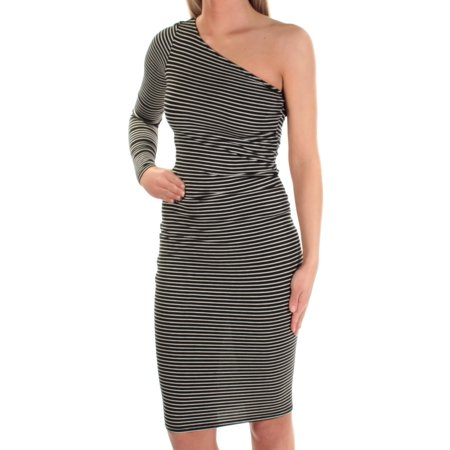 BAR III Womens Ivory Striped Long Sleeve Asymetrical Neckline Knee Length Body Con Dress  Size: XS