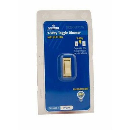 6643-I 600W 120V 3-Way Electro-Mechanical Incandescent Toggle Dimmer, Ivory