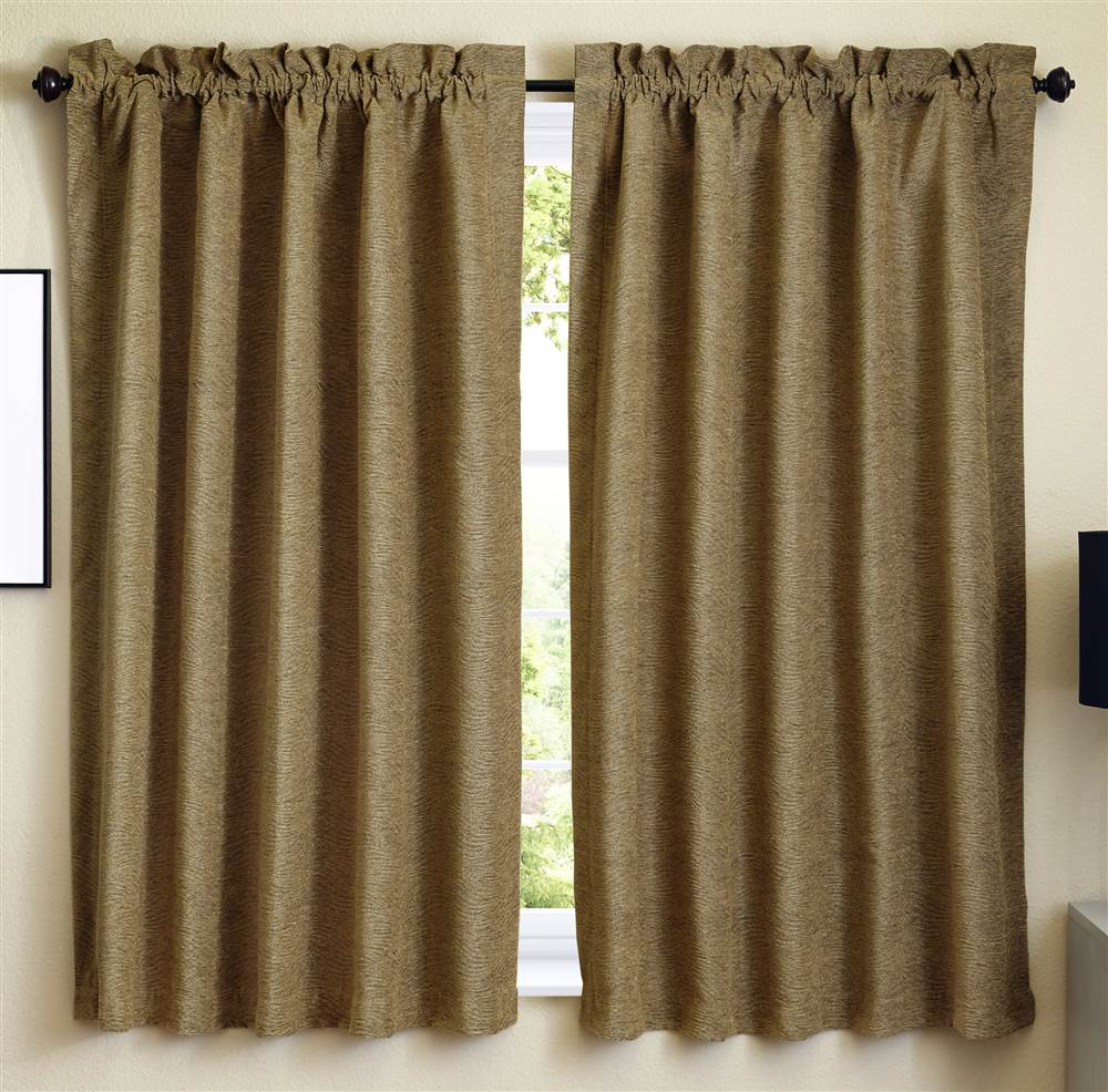 Blazing Needles 63 inch Jacquard Chenille Curtain Panels in Champaign (Set of 2)