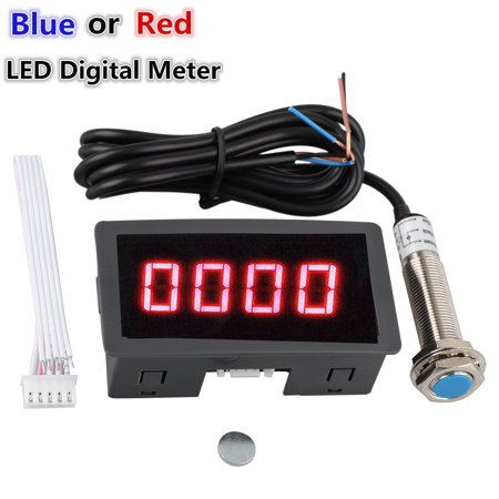 4 Digital LED Display Tachometer RPM Speed Meter Panel Inductive Hall Effect Sensor NPN Proximity Switch Red/Blue
