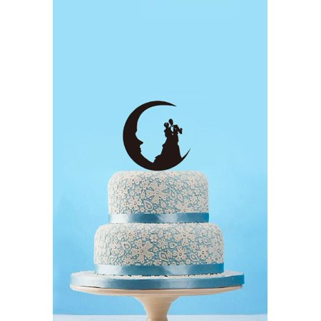 Tayyakoushi Beach Theme Romantic Wedding Cake Topper , Silhouette Mr & Mrs Cake Topper, Bride and Groom Cake Topper Wedding,Script Cake Topper ,Party Decoration Wedding Cake