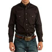 wrangler men's big and tall big & tall painted desert long sleeve button shirt, black, large