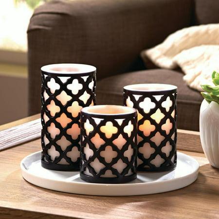 Better Homes and Gardens Flameless LED Pillar Candles 3-Pack Trellis - Flameless Candles Bulk