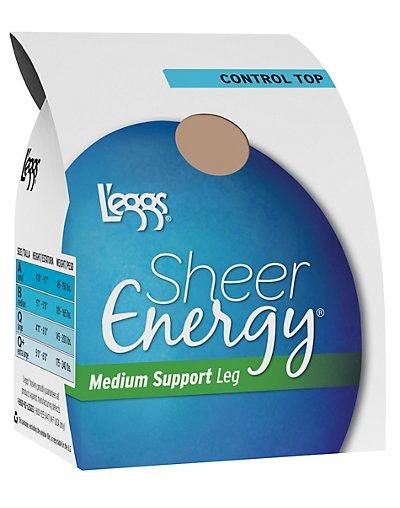 L'eggs Sheer Energy Control Top, Reinforced Toe Pantyhose 6-Pack