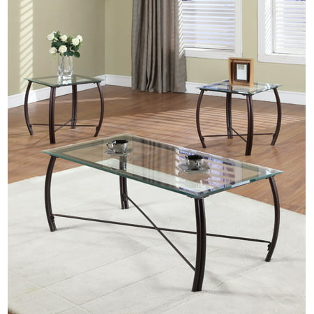 Paula 3 Piece Copper Metal & Beveled Glass Top Occasional Cocktail Coffee & 2 End Tables Set