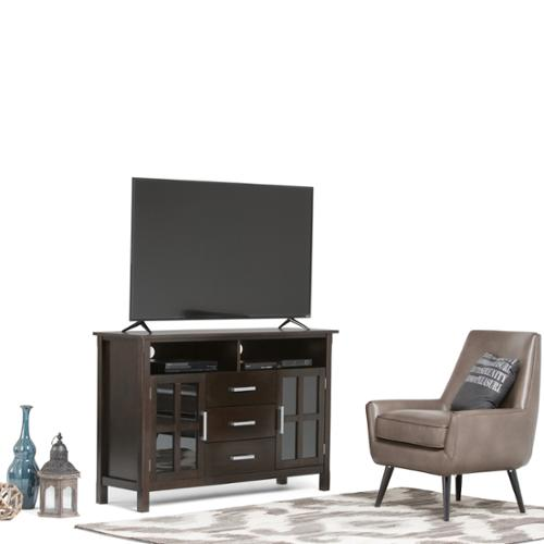 WyndenHall  Waterloo Walnut Brown Tall TV Stand for TV's up to 60 Inches