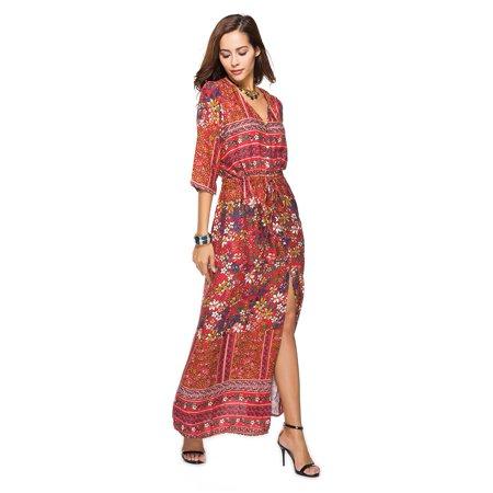 6d8dafdf3d1 Yosoo - Yosoo Bohemian Style Women Lady V-neck Half Sleeve Design Beautiful  Print Dress