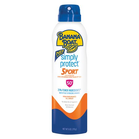- Banana Boat Simply Protect Sport Broad Spectrum Sunscreen Spray with SPF 50, 6 Ounce
