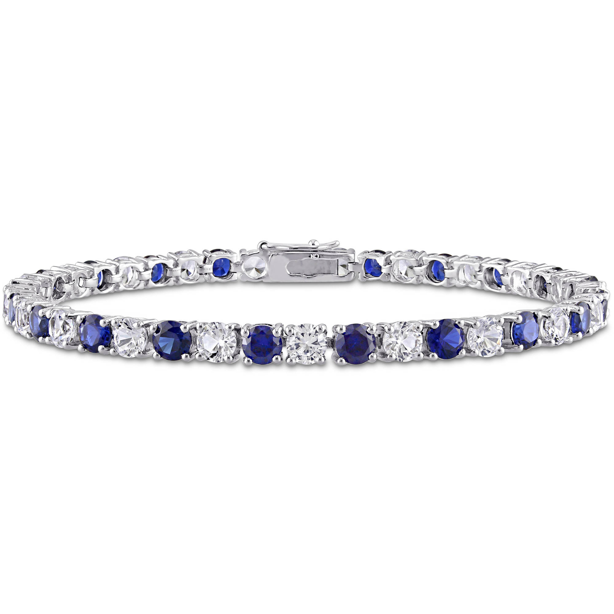 Tangelo 14-1/4 Carat T.G.W. Created Blue and White Sapphire Sterling Silver Tennis Bracelet, 7-1/4