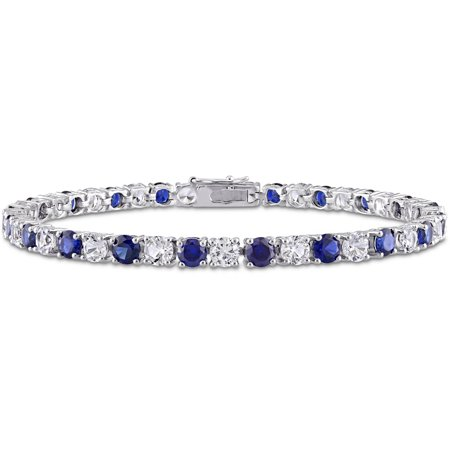 14-1/4 Carat T.G.W. Created Blue and White Sapphire Sterling Silver Tennis Bracelet, 7-1/4