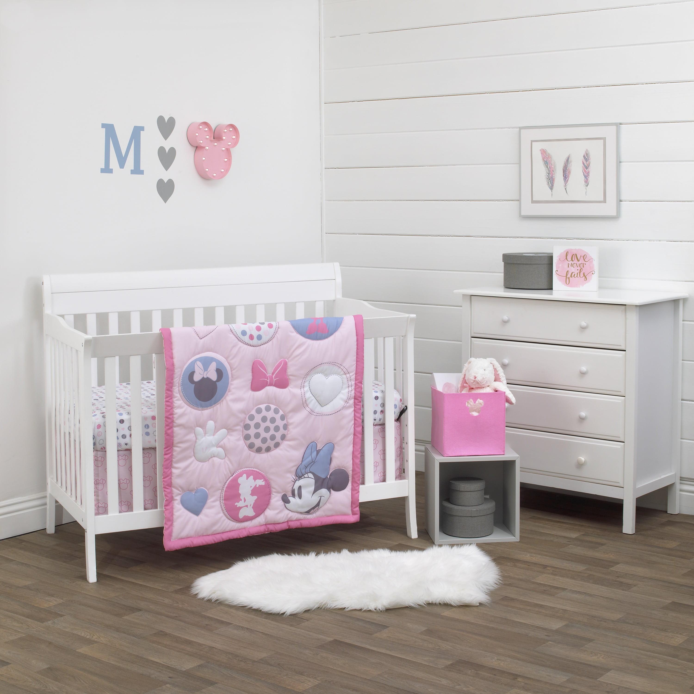 Disney Minnie Mouse Pretty In Pink 3 Piece Nursery Crib Bedding Set