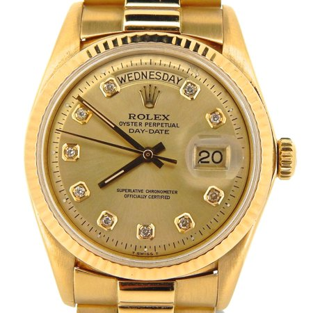Pre-Owned Mens Rolex 18K Gold Day-Date President Champagne Diamond 1803 (SKU (Rolex Day Date Ii 41mm Yellow Gold Price)