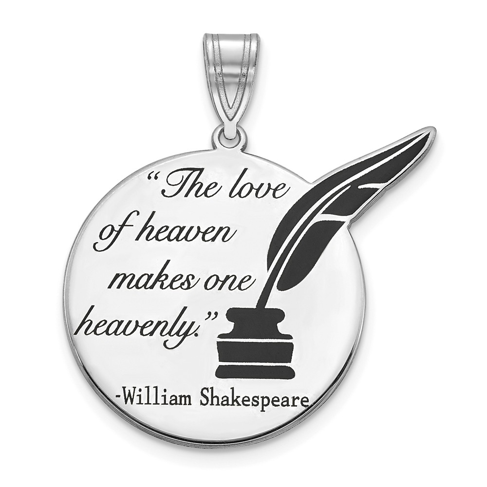 925 Sterling Silver Yellow Gold-Plated Quill Quote Charm Pendant 28mm x 20mm