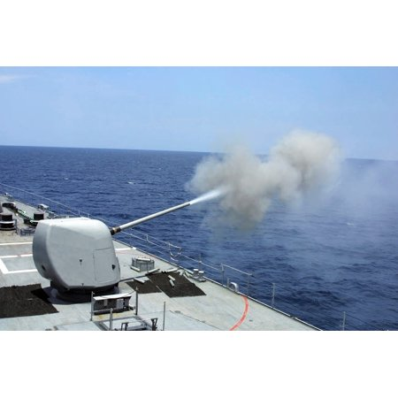 The guided missile destroyer USS Spruance fires its 5 54 gun Poster Print by Stocktrek Images (Spruance Destroyer)