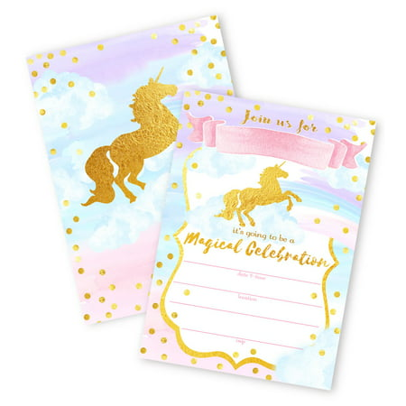 Magical Unicorn 12 LARGE Invitations - 12 Invitations + 12 Envelopes - DOUBLE SIDED - Unicorn Invitations