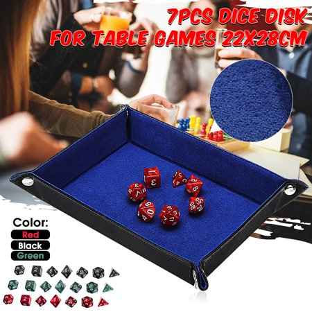 7 Dice & Leather Folding Dice Tray for DND and other Tabletop RPG Games